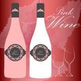 Frasco de vinho cor-de-rosa Fotografia de Stock Royalty Free