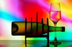 Frasco de vinho na cremalheira fotos de stock royalty free