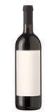 Frasco de vinho vermelho com etiqueta em branco. Fotografia de Stock Royalty Free