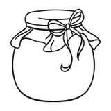 Frasco do ícone do mel no estilo do esboço isolado no fundo branco Ilustração do vetor do estoque do símbolo de Apairy Fotografia de Stock