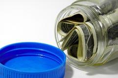 Frasco do dinheiro foto de stock