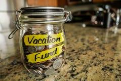 Frasco do dinheiro do fundo das férias Fotografia de Stock Royalty Free