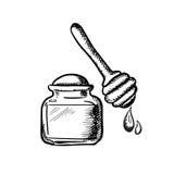 Frasco do mel com esboço de madeira do dipper Imagens de Stock Royalty Free
