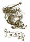 Frasco do mel, vara de madeira do dipper e favo de mel Fotos de Stock Royalty Free