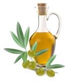 Frasco do petróleo verde-oliva com azeitonas Imagem de Stock Royalty Free
