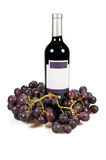 Frasco do vinho e das uvas Fotografia de Stock