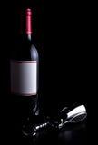 Frasco do vinho e do corkscrew Imagens de Stock