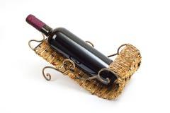 Frasco do vinho no carrinho Fotografia de Stock Royalty Free