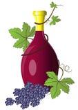 Frasco do vinho retorcido com uva Foto de Stock