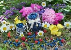 Frasco do vintage com o maduro da baga, da morango e das flores da madressilva Fotos de Stock Royalty Free