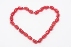 Frasco dos doces do coração do Jellybean fotografia de stock royalty free