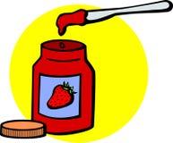 Frasco e faca do doce de fruta Imagens de Stock
