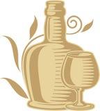Frasco e vidro de vinho Fotos de Stock Royalty Free