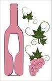 Frasco e vidro de vinho cor-de-rosa Foto de Stock