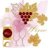 Frasco e vidro de vinho Folhas da uva Fotos de Stock Royalty Free