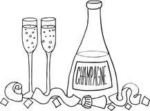 Frasco e vidros de Champagne Fotos de Stock Royalty Free