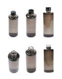 Frasco negro de la botella de cristal aislado Imagen de archivo