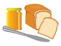 Frasco, pão & faca do atolamento Imagens de Stock