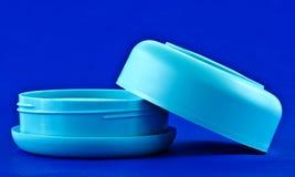 Frasco plástico azul fotos de stock
