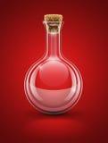 Frasco químico de cristal vacío con el corcho Foto de archivo