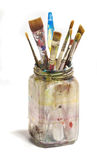 Frasco sujo velho de escovas de pintura Imagens de Stock Royalty Free
