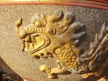 Frasco vitrificado da água com testes padrões do dragão Fotografia de Stock