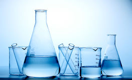 Frascos/botella del laboratorio Fotografía de archivo