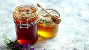 Frascos com tipos diferentes do mel orgânico fresco video estoque