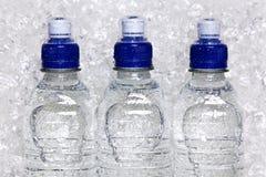 Frascos da água mineral fria no gelo esmagado Fotos de Stock Royalty Free