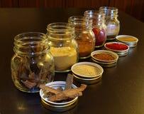 Frascos das especiarias na cozinha Foto de Stock Royalty Free