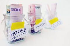 Frascos das moedas imagens de stock royalty free