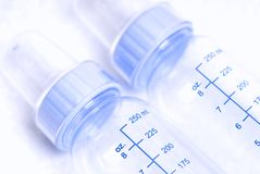 Frascos de bebê azul Imagem de Stock