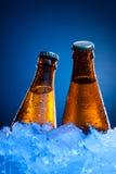 Frascos de cerveja dos pares no gelo fotografia de stock