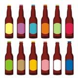 Frascos de cerveja isolados ajustados ilustração stock