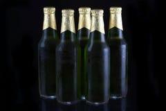 Frascos de cerveja verdes imagens de stock royalty free