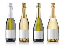 Frascos de Champagne com diversas etiquetas Fotografia de Stock Royalty Free