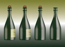 Frascos de Champagne com diversas etiquetas Imagem de Stock