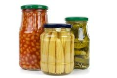 Frascos de Glas com vegetais Imagem de Stock