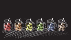 Frascos de pedreiro com os cubos de gelo coloridos ilustração stock