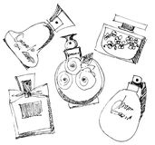 Frascos de perfume ajustados. Foto de Stock Royalty Free