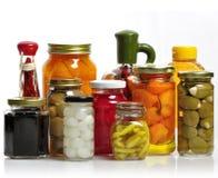 Frascos de vidro do alimento preservado Fotografia de Stock