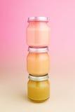 Frascos de vidro do comida para bebê Fotos de Stock