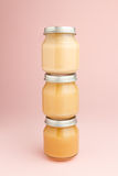 Frascos de vidro do comida para bebê Fotografia de Stock