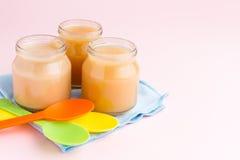 Frascos de vidro do comida para bebê Foto de Stock Royalty Free