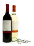 Frascos de vinho vermelho e branco com corkscrew Imagens de Stock Royalty Free