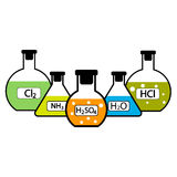 Frascos del laboratorio con las sustancias químicas stock de ilustración
