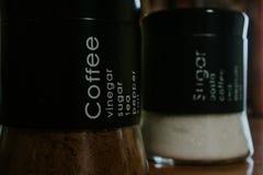 Frascos do café e do açúcar fotografia de stock royalty free