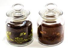 Frascos do café e do chá foto de stock