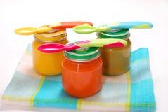 Frascos do comida para bebé Foto de Stock