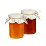 Frascos do doce isolados em um fundo branco dos frutos e das bagas Abricós das morangos, pêssegos Fotos de Stock Royalty Free